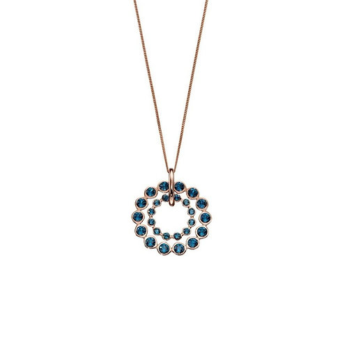 Elements Sterling Silver and Rose Gold Double Row Swarovski Necklace