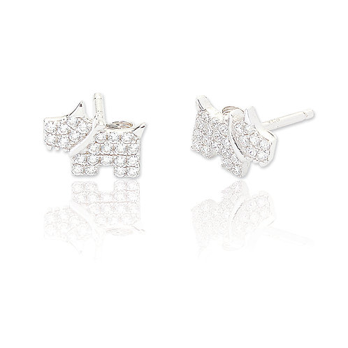 Seodra Sterling Silver Scottie Dog Stud Earrings