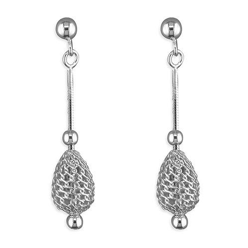 Seodra Sterling Silver Oval Cage & Bead Drop Earrings