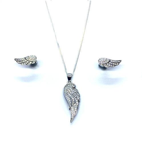 Seodra Sterling Silver & Cubic Zirconia Angel Wing Set