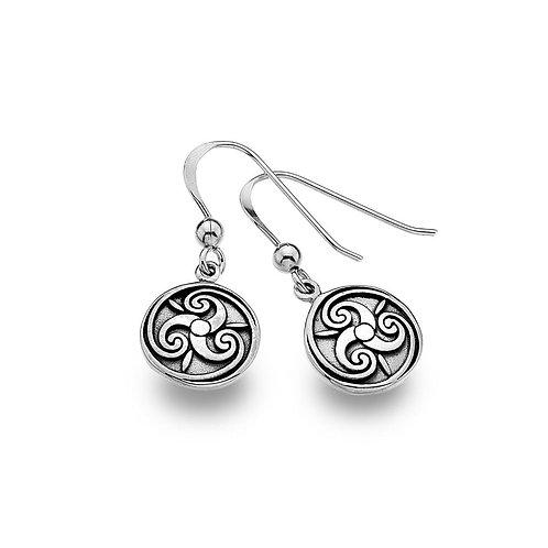Celtic Lands Silver Round Triskele Earrings