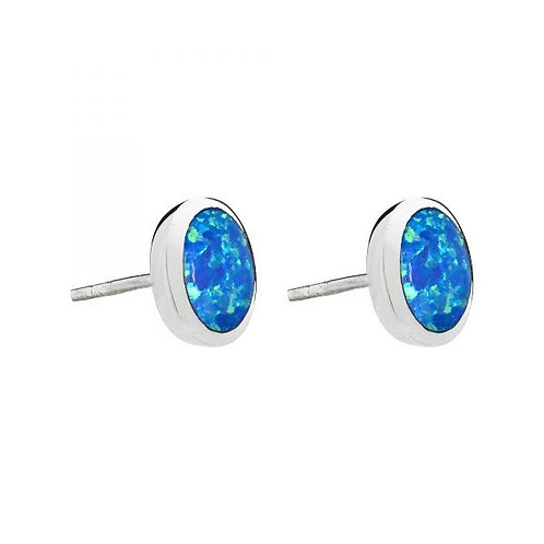 Seodra Sterling Silver & Opal Round Earrings