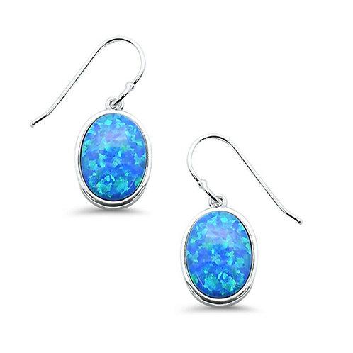 Seodra Sterling Silver Blue Opal Oval Earrings