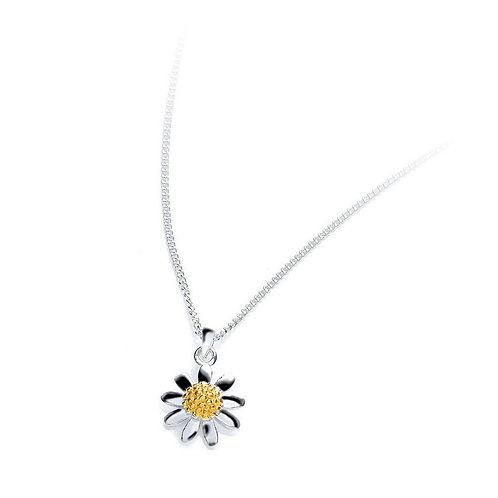 Seodra Sterling Silver & Gold Daisy Necklace