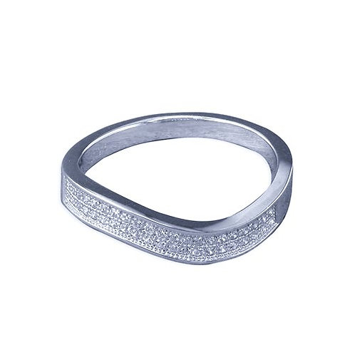 Seodra Sterling Silver & Cubic Zirconia Wave Band Ring