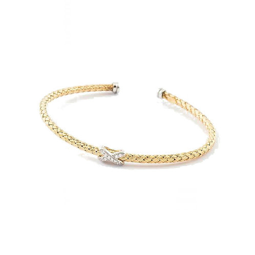 Virtue Exquisite Sterling Silver & Gold Kiss Bangle