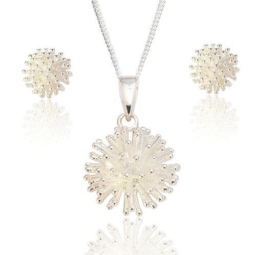 Seodra Sterling Silver Allium Necklace & Earrings Set