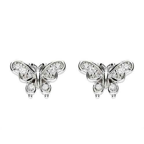 Seodra Sterling Silver Cubic Zirconia Butterfly Stud Earrings
