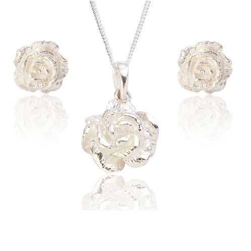 Seodra Sterling Silver Rose Necklace & Earrings Set