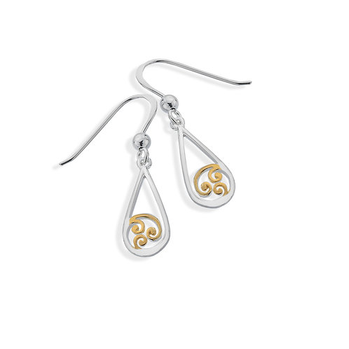 Seodra Sterling Silver GP Spiral Drop Earrings