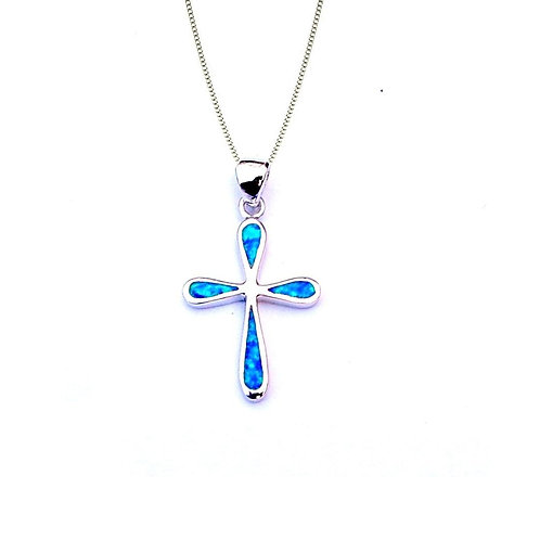 Seodra Sterling Silver & Blue Opal Cross