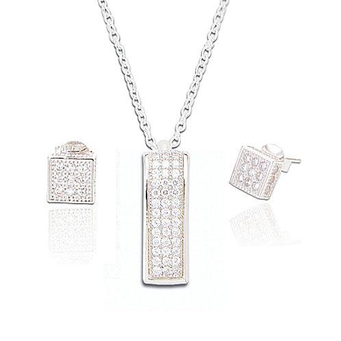 Seodra Sterling Silver Cubic Zirconia Rectangle Pendant & Earrings Set