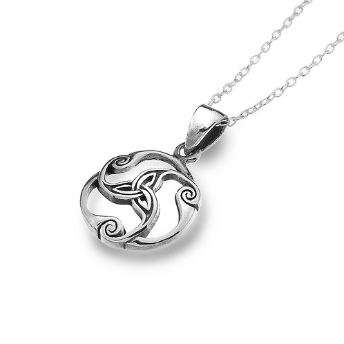 Celtic Lands Sterling Silver Scroll Trinity Necklace