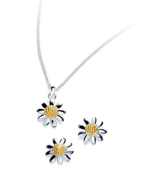 Seodra Sterling Silver Daisy Necklace & Earring Set