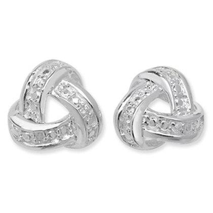 Seodra Sterling Silver & Cubic Zirconia Open Knot Stud Earrings