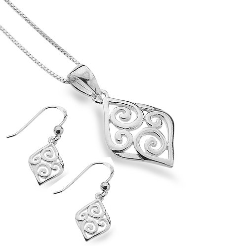 Pure Origins Silver Scroll Necklace & Earring set