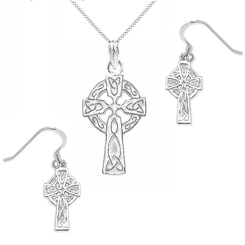 Seodra Sterling Silver Celtic Cross Necklace & Earrings Set