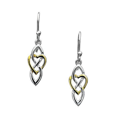 Celtic Lands Sterling Silver Knot & Heart Drop Earrings