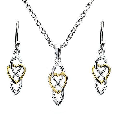 Celtic Lands Silver & Gold Plate Heart & Knot Jewellery Set