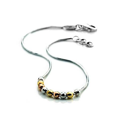 Virtue Exquisite Sterling Silver Three Colour Bead Bracelet