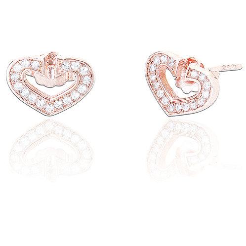 Seodra Sterling Silver & Rose Gold Open Heart Studs
