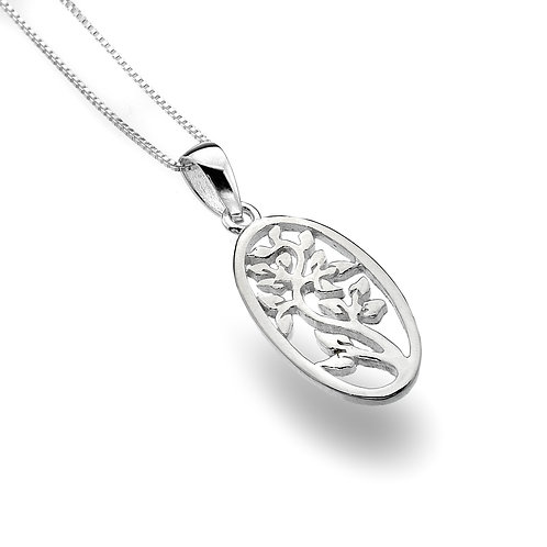 Pure Origins Silver Tree in Oval Necklace