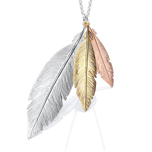 Seodra Sterling Silver Three Colour Feather Necklace