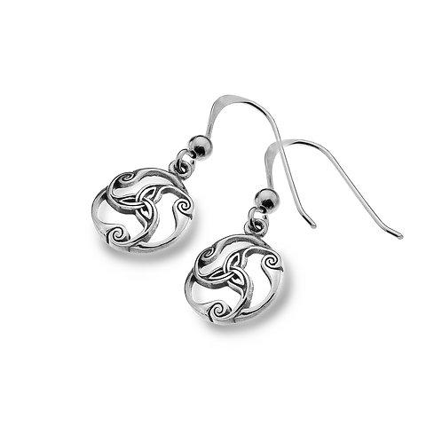 Celtic Lands Sterling Silver Trinity Knot Drop Earrings