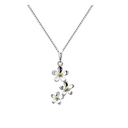 Pure Origins Sterling Silver Daisy Necklace
