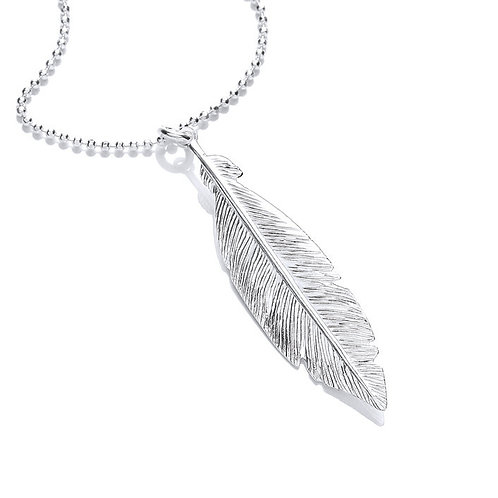 SEODRA Silver Feather Necklace