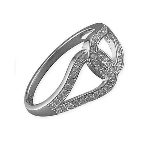 Seodra Sterling Silver & Cubic Zirconia Interlocked Loop Ring