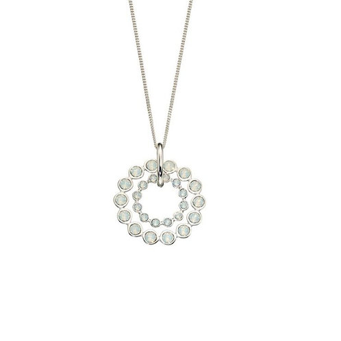 Elements Silver & Swarovski Crystal Double Row Circle Necklace