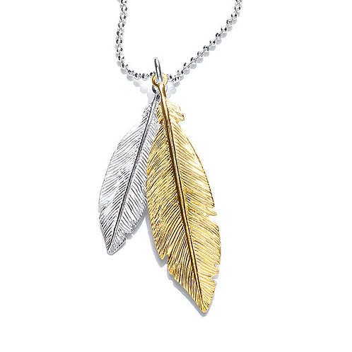 Seodra Sterling Silver Two Tone Feather Necklace