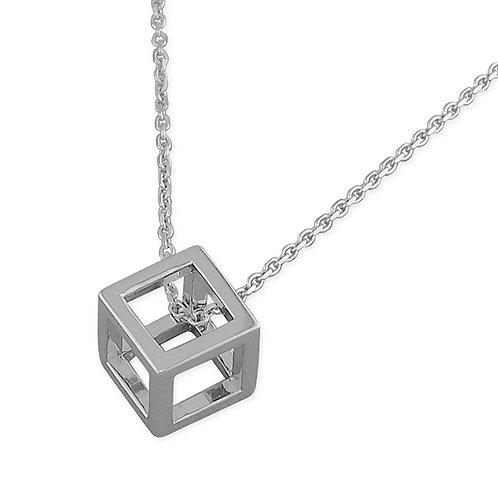 Seodra Sterling Silver Open Cube Necklace