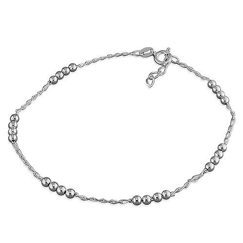 Seodra Sterling Silver Beads Ankle Bracelet