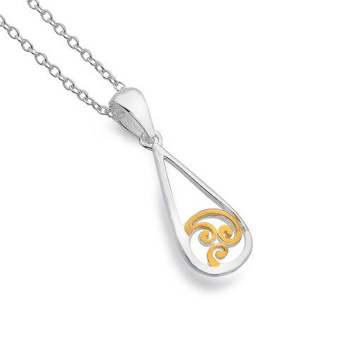Celtic Lands Sterling Silver & Gold Spiral Necklace