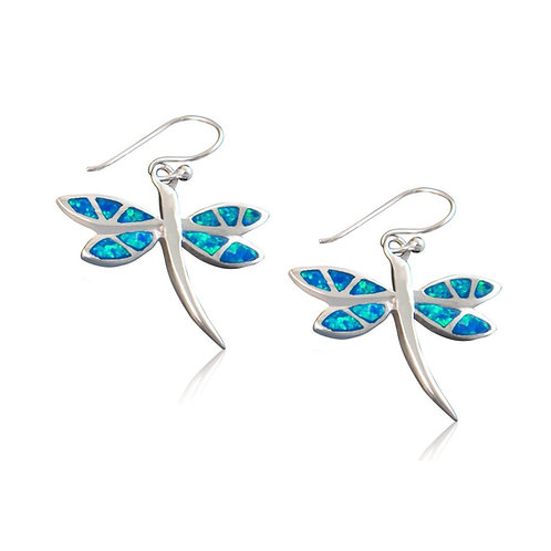 Seodra Sterling Silver & Blue Opal Dragonfly Earrings