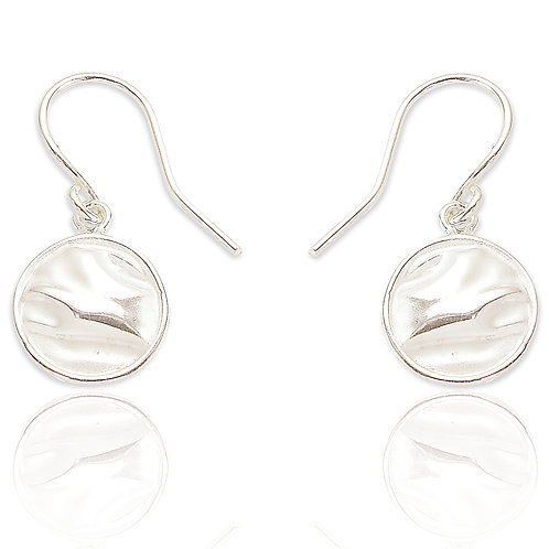 Seodra Sterling Silver Ruched Circle Earrings