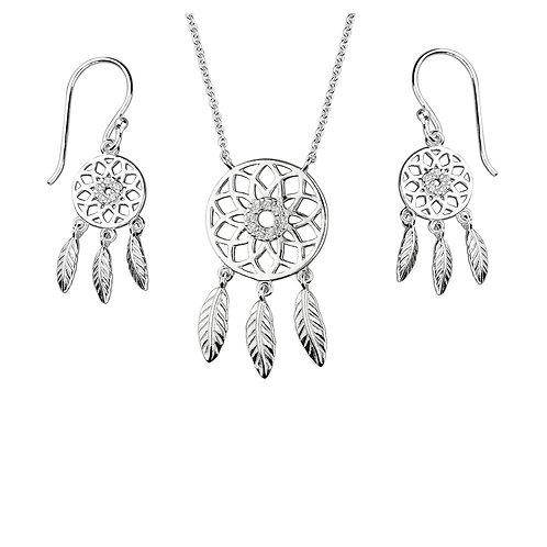 Seodra Sterling Silver & Cubic Zirconia Dreamcatcher Set