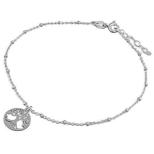Seodra Sterling  Silver Tree of Life Ankle Bracelet