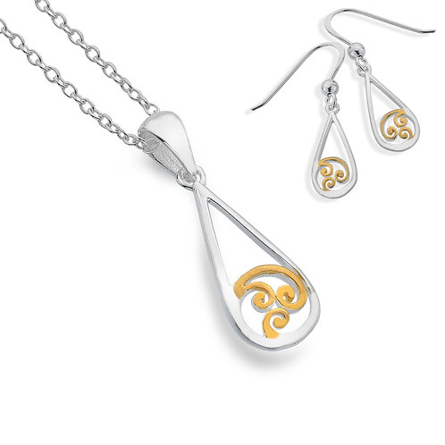 Celtic Lands Silver & Gold Plate Spiral Pendant & Earring Set