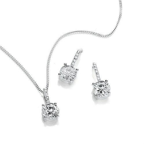 Seodra Sterling Silver & Cubic Zirconia Round Pendant & Earring Set