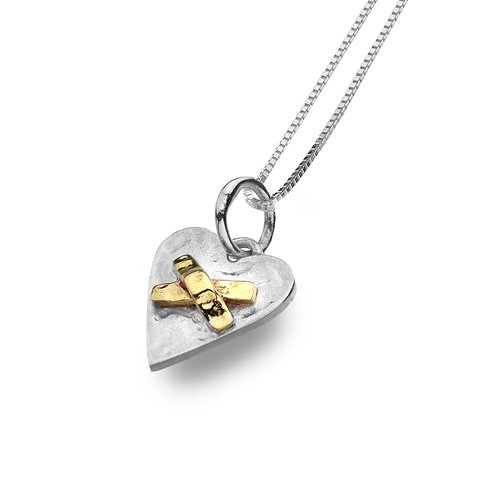 Pure Origins Sterling Silver Heart & Kiss Necklace