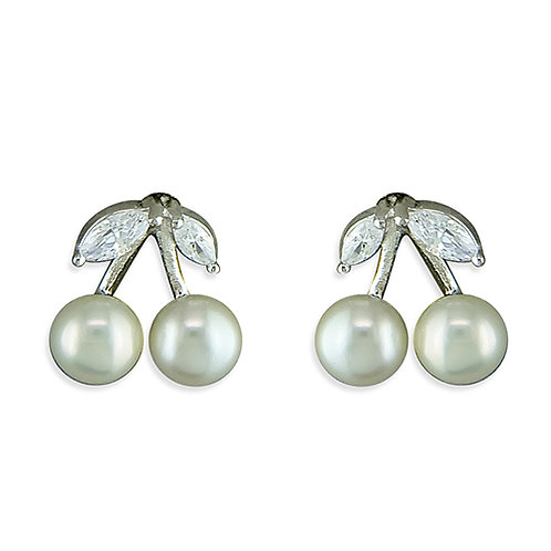 Seodra Sterling Silver, Pearl & Cubic Zirconia Cherry Studs