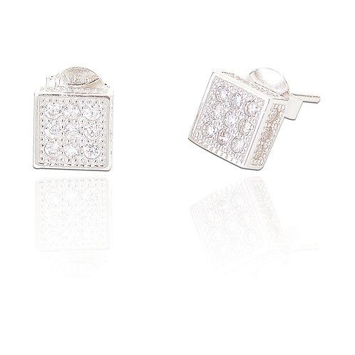 Seodra Sterling Silver & Cubic Zirconia Square Stud Earrings