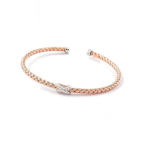 Virtue Exquisite Sterling Silver & Rose Gold Kiss Bangle