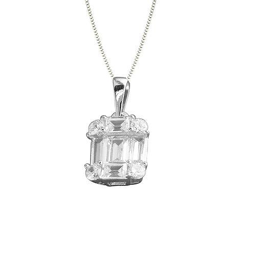 Seodra Sterling Silver Baguette Cut Cubic Zirconia Necklace