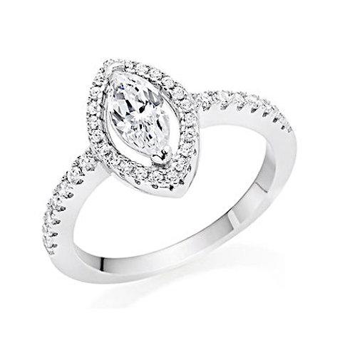 Seodra Silver Marquis Halo Ring