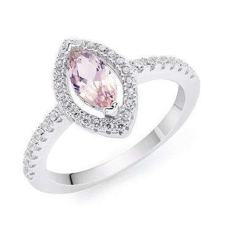 Seodra Silver Pink Marquis Halo Ring