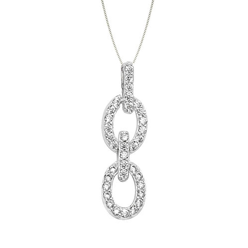 Seodra Sterling Silver & Cubic Zirconia Linked Oval Necklaces